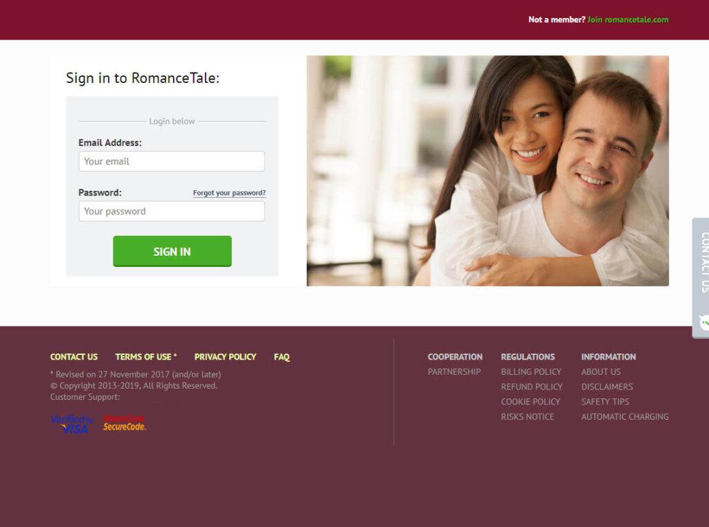 romancetale registration screen